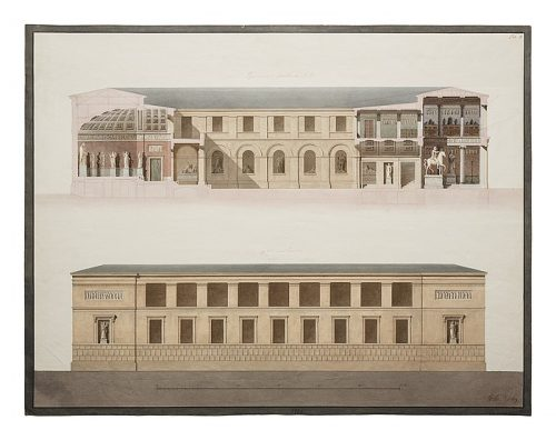 G.F. Hetsch Thorvaldsens Museum, Longitudional Section and Elevation of the Facade towards the Chanal, 1839